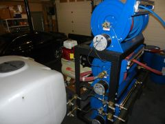 Powder Coated Hose Reel Frame and Hose Reels for a Roof Cleaning & Power Washing Trailer
